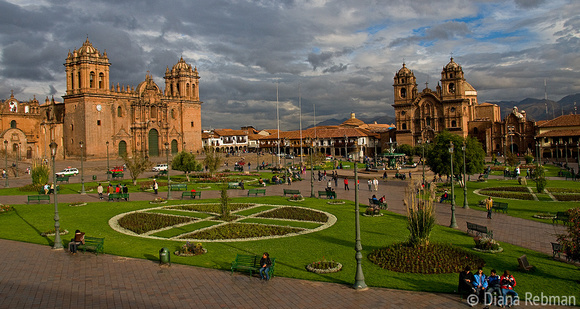 Cusco Plaza D'Arms Under Threatening Skies